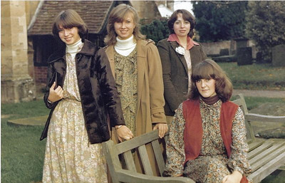 Katherine, Judith, friend and Carolyn (on seat) outside Newent Church at Neil's wedding 1978