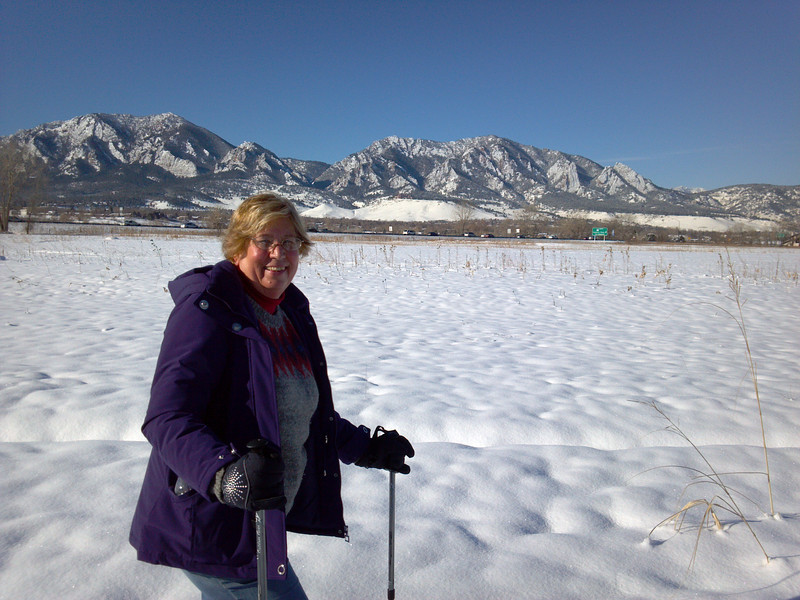 Hiking in the snow along South Boulder Creek. , Hiking in the snow along South Boulder Creek.