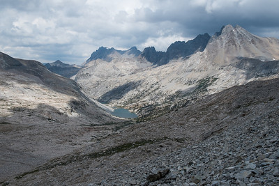 Looking back from the top of Mather Pass (12,100')
