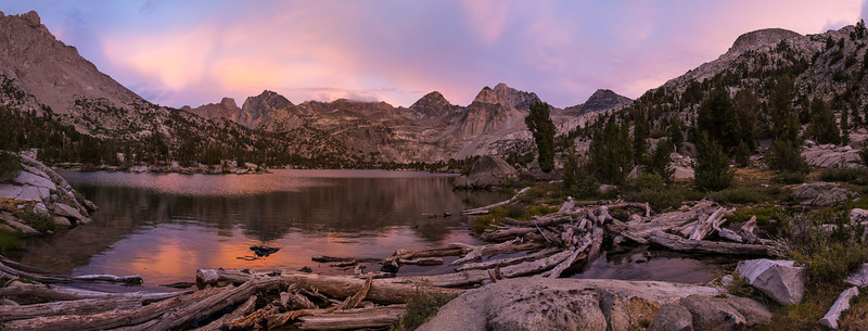 Sunset over Rae Lakes