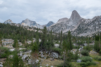 The Fin Dome in the upper right above Rae Lakes