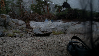Video view from my tent during heavy rain at Rae Lakes