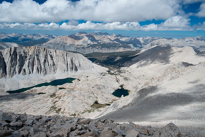 Guitar Lake is in the lower, right middle where I camped the night before (more than 3000' below)
