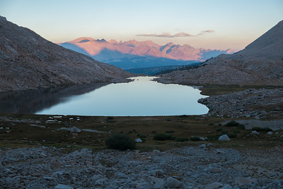 Sunrise over Guitar Lake as I leave and head up the trail to Whitney