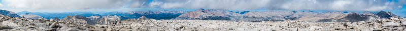 A nearly 270 degree view from south, to west to north from the top of Whitney