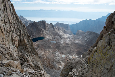 "Looking east towards Lone Pine down through one of the ""windows"", the space between the sub-peaks on the way to Whitney"