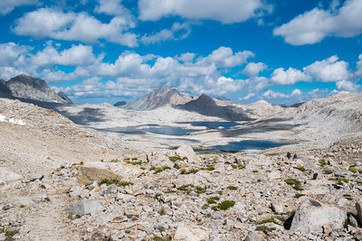 Looking back on Helen and Wanda Lakes as I head up to Muir Pass - no trees in sight
