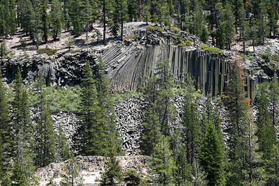 A view of the basalt formations of Devil's Post Pile from the other side of the San Joaquin River valley