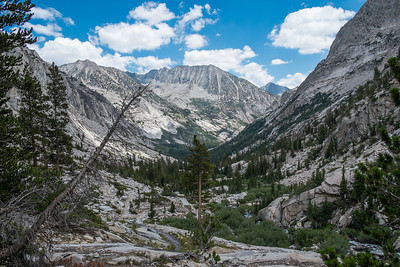 Looking down LeConte Canyon and the headwaters of the Kings River