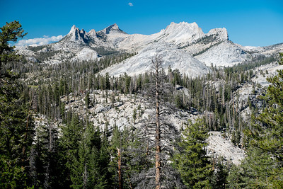 Cathedral peak (far left).  Tuolumne Meadows is beyond these peaks (over Cathedral Pass and then down into Tuolumne)
