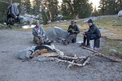 Breakfast below Lyell Glacier before we set off
