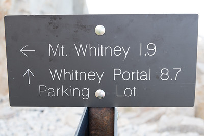 The sign at Trail Junction.  Now up to about 13,100' with just 1.9 miles to the top of Whitney