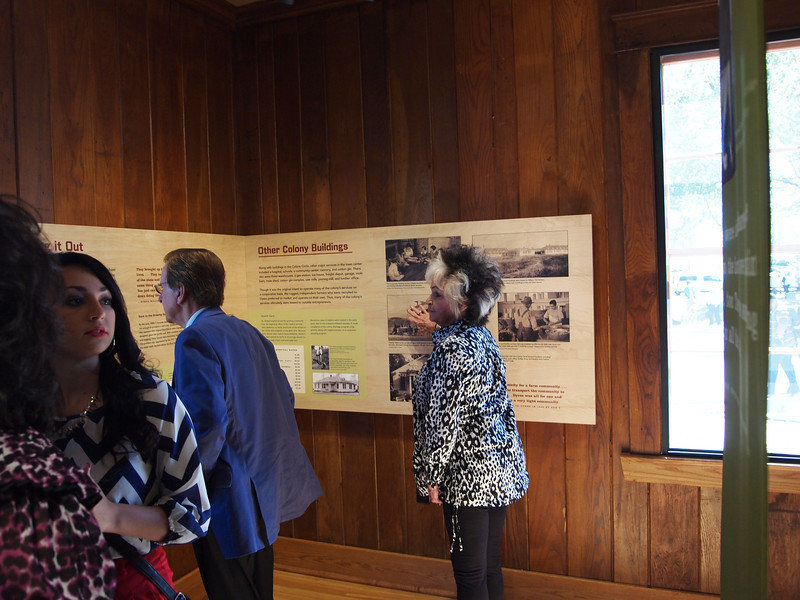 Fallon Rivers (left), Tommy Cash, Joanne Cash. Touring the Museum in the Administration Building in Dyess.