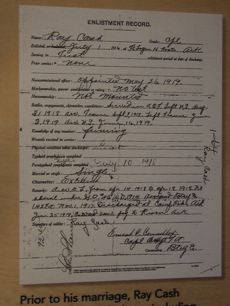The Enlistment Record of my grandfather, Ray Cash. It notes that he was A.W.O.L. from April 14-April 18, 1918.