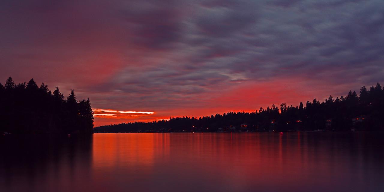 A summer storm passes through Lake Oswego, Oregon.