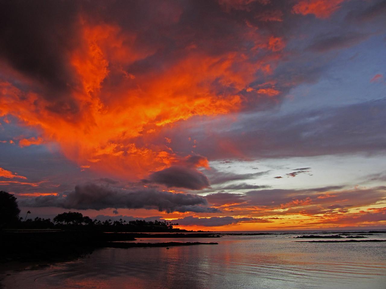 Sunset along the Kona Coast, Hawaii.