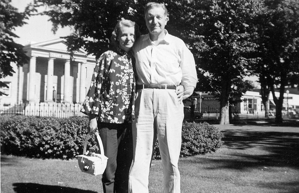 Homer and Ruth McChesney in front of the Court House in Carson City NV, July, 1956.