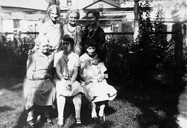 Top Row: Ester (Young) Gustafson, Mrs. Michaelson, Aunt Emma<br /> Bottom: Aunt Hilma, Alice, Mathilda Johnson
