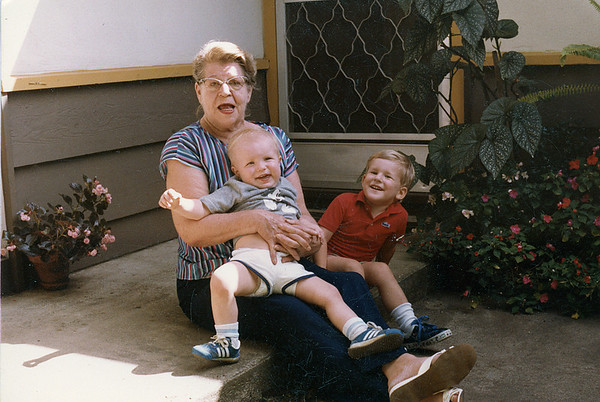 Lois Ruth McChesney with grandsons Matthew Manson McChesney (on her lap) and Christian Lloyd McChesney. 1983
