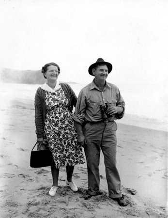 "Flo and Art at the beach.. Flo was know as ""johnny"" by her co-workers. I remember that she was working in the coffeeshop at the bus station in Santa Rosa."