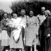 This is a very difficult image to date correctly.  From the left, Aunt Willie, then either its Louella, or it could Barbara, Grandpa and Grandma Johnson, Arvid Cole (?) and Grandma Cole.  Now here are the issues.  Look at Grandma Cole-she is in her later years.  The setting would have to be at 919 Link Lane in Santa Rosa.  If that is the case, then that would have to be Barbara, not Louella.  But then, that could not be Arvid Cole.  Does anyone have any ideas.  It does not look like Marvin, the guy that she was married to.