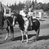 Michael McChesney with Edna Thompson with the horses on Clover Dr. Santa Rosa, 1948