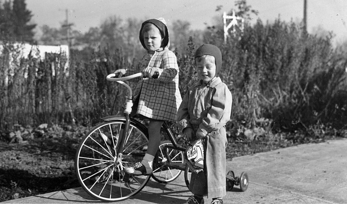 Susan and Martin Johnson, Chrismas Day, 1949