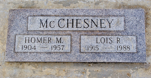 The Grave of Homer and Ruth McChesney.  Kathy, their infant daughter is buried there as well. Kathy was born on May 6, 1938 and lived for about 24 hours.  The grave site is at the Santa Maria Cementery in Santa Maria CA.
