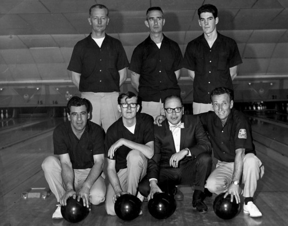 "Golden Bear Lodge Bowling Team.  April 1967.  We just lost the playoff for Holiday Classic league Championship.  I was 24 years old and just started attending Santa Rosa Junior College. For the most part, this was the last time that I bowled competivily.  I also had the Brylcream look --""a little dab will do ya"""