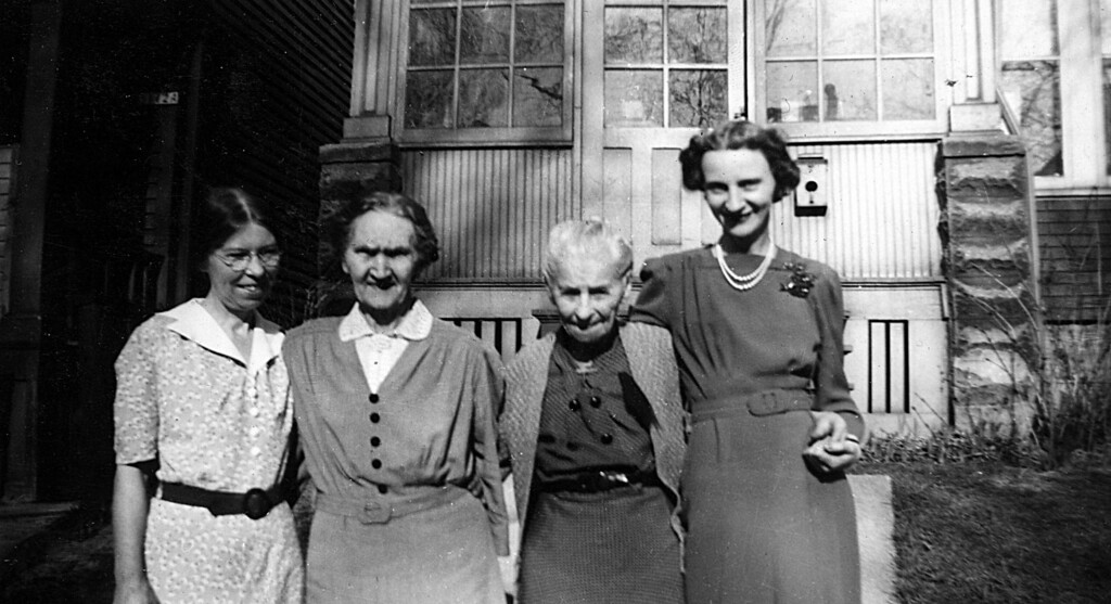 Alice Johnson, Aunt Emma, Mathilda Johnson, Uncle Young's daughter Ester. Taken about 1943