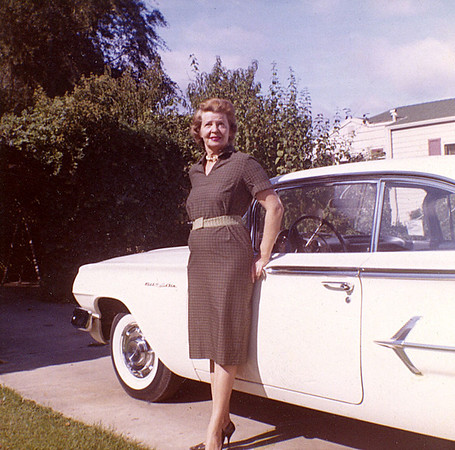 Ruth McChesney, 1963, Standing infront of a Chevie Bel Air.  This was a replacement car after Mike flipped the Impala.  This was taken at 915 Link Lane.  The house on the right is 919 Link Lane.