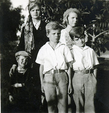"""Johnson Kids  Eleanor, Ruth, Glen, Neil and Don.  Uncle Don already has the """"look"""""""