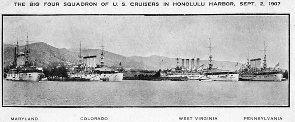 """Arthur E. Johnson served on the West Virginia during 1905-1907.  The """"Big Four"""" as they were know were in Honolulu on September 2, 1907 just before heading to San Francisco."""