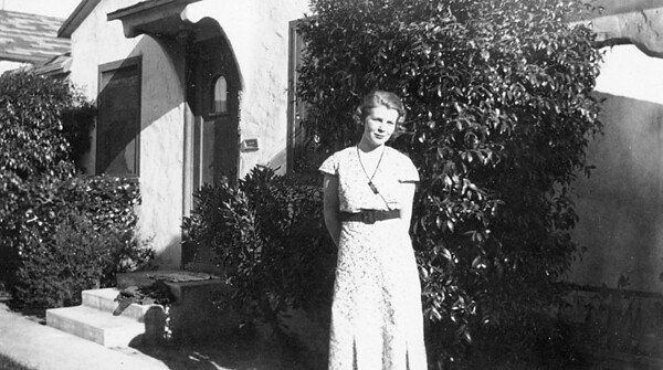 Ruth McChesney in front of 314A Miller St. Santa Maria, CA