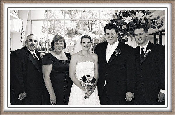 Chris and Melissa Wedding: From the left, Bob and Marsha Mattson, Melissa's parents, Melissa and Chris, and Jeff Mattson, Melissa's brother.