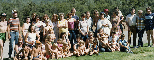 Johnson Family Reunion, Loffer Creek,Lake Oroville 1979.  How many people do you reconize?