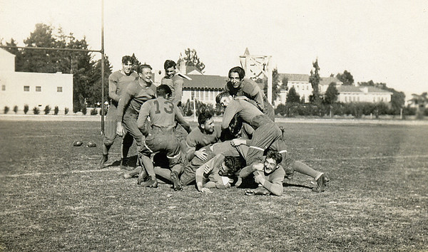 Homer M. McChesney playing Santa Maria JC football.  Here he is the one on the bottom of the pile, not facing the camera.