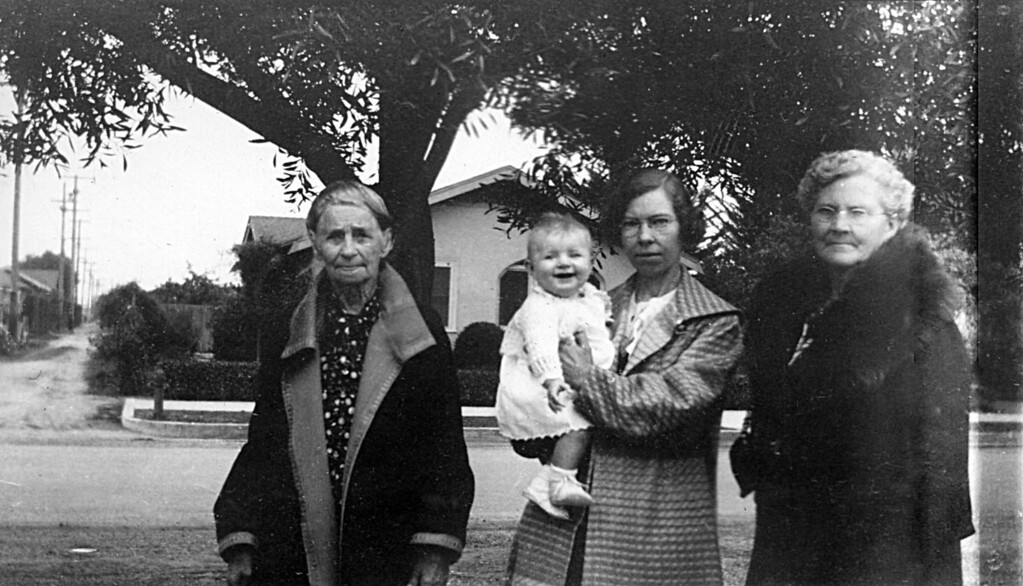 Mathilda Johnson, Martha McChesney, Alice Johnson and Mary Dora Cole 1936.  This photo was taken outside of 314 Miller Street in Santa Maria, CA.  Thank you Google street view.