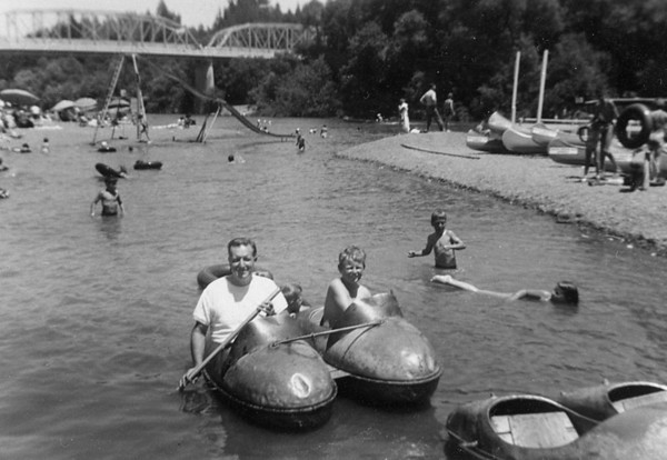 Homer Manson and Michael Manson McChesney at Johnson's Beach on the Russian River, Gureneville, CA. 1952