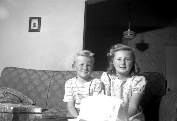Martha Manson and Michael Manson McChesney on Marc Cole McChesney's birthday, March 7, 1947.  The box in the fron on the left is the cigar humidor that was given to my grandfather, Leroy. E. McChesney when he left Japan in late 1909.