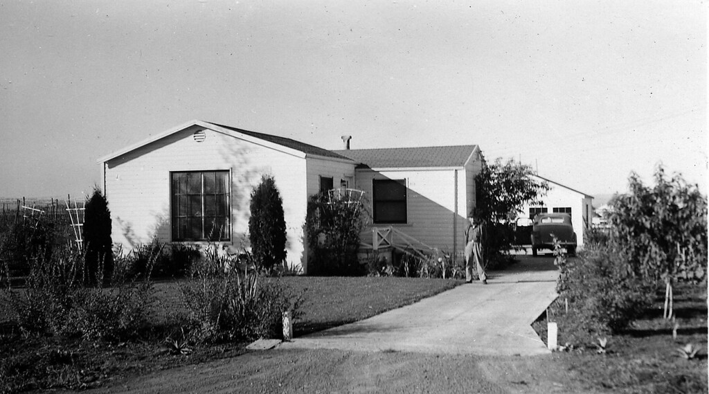House on Link Lane in Santa Rosa ~1945. Arthur and Florence Johnson moved here. The property that they owned included a lot on each side of this house.  Behind the property, lived Roy and Edna Thompson and two horses: Tio-toe and Dina.  Behind that, was a very large hop field. There were very few houses on Link Lane at the time.