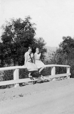 Allice Hobbst and Ruth Johnson on the Cuyama Road, Sept 24th, 1929.