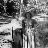 Florence Johnson and her daughter, Ruth McChesney at the Petrified Forest near Santa Rosa, in 1950.