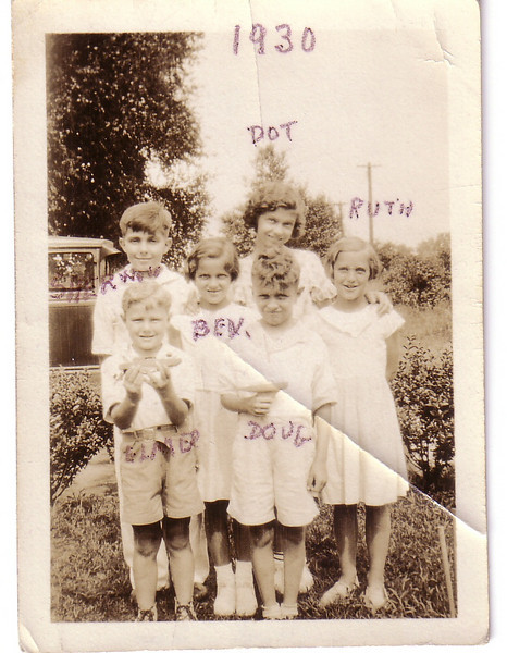 Sherwood, Elmer, Bev, Doug, Dot, Ruth--next photo has handwritten notes on back of this one