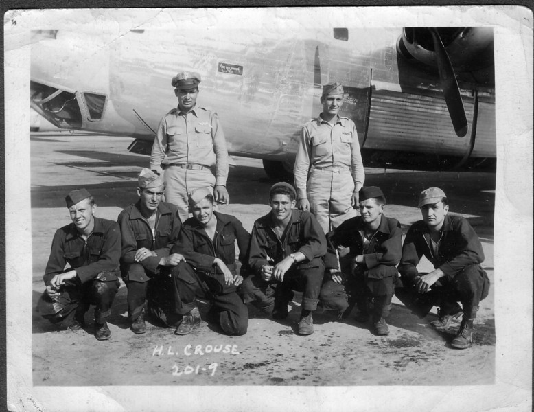 """Harry Lynn Crouse's crew stationed at Attlebridge part of """"The Flying Deck""""<br /> Douglas Johnston is 3rd from left kneeling"""