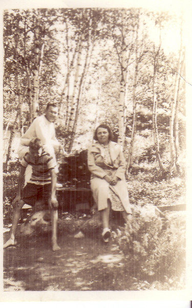"Doug, Bill, & Gladys Johnston ""Last day of 1938 vacation Labor Day at Pine Island Lake, West Hampton, Mass."""