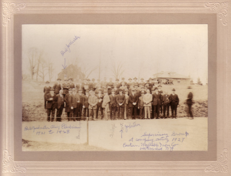 """""""Supervisory Group at company outing 1927 Eastern Mallable Iron Co, Watervliet NY""""<br /> Bill Johnston Exec? Electrician 1921-1928   See arrows in photo showing where Bill and his brother Art were.<br /> Douglas Johnston was born in Watervliet while his father, Bill, worked here."""