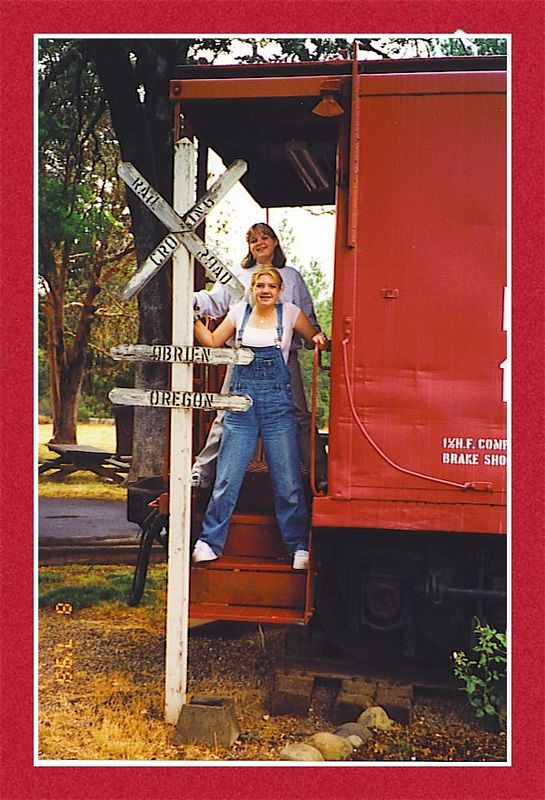Karyn and Jolen at the O'Brien train stop when it was in its original condition.