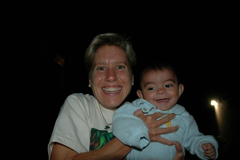 Mommy laughs with Tyler.