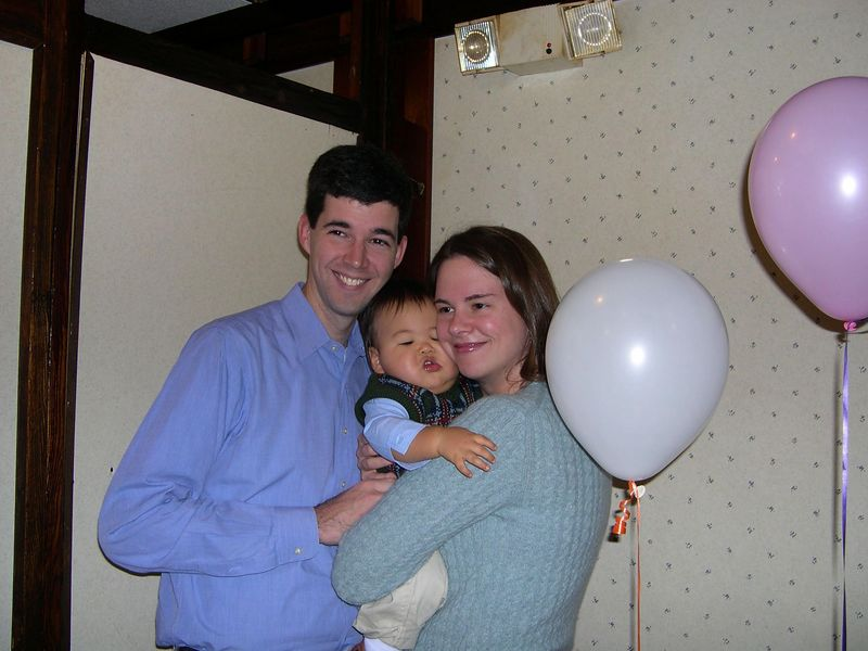 Jonathan with Auntie Liz and Uncle Jim.